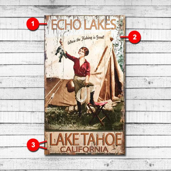 Echo Lakes Personalized Lake Sign