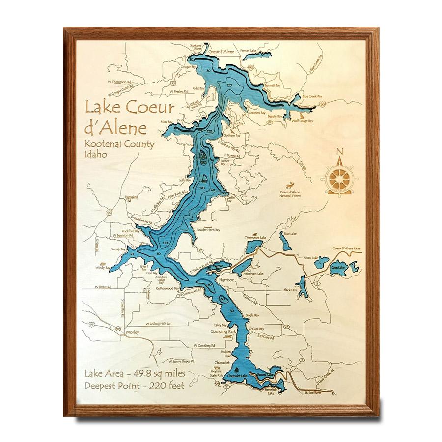 Lake Coeur d\'Alene, ID Nautical Decor | Framed Wooden Map, 8\