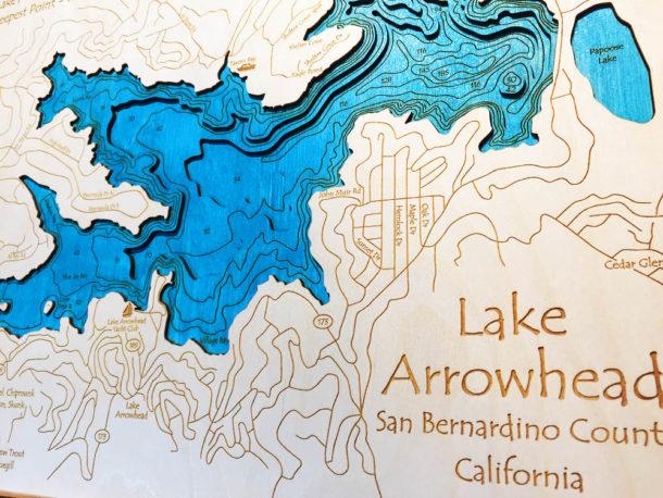 Lake arrowhead ca 3 d nautical wood map 16 x 20 publicscrutiny Gallery