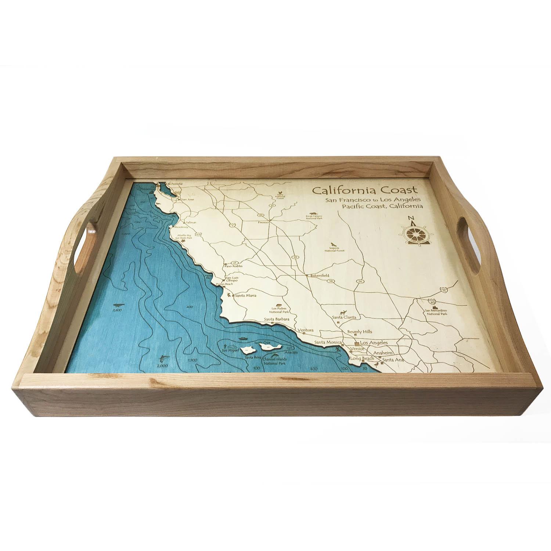 California Coast Wood Map