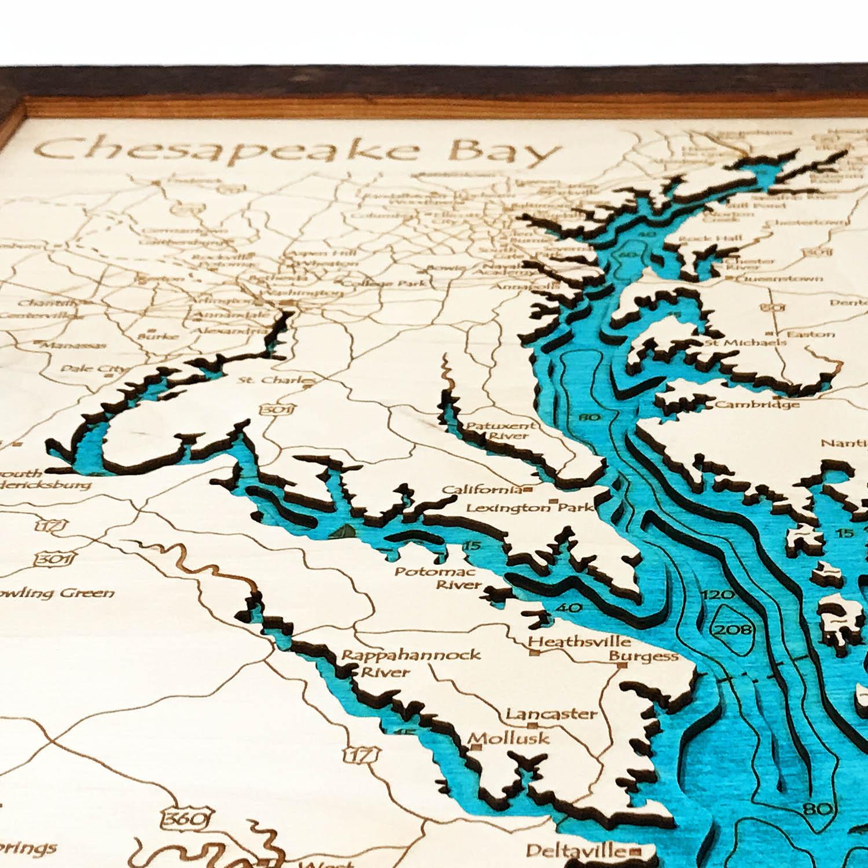 chesapeake bay . chesapeake bay mdva d nautical wood map  x   on tahoe time
