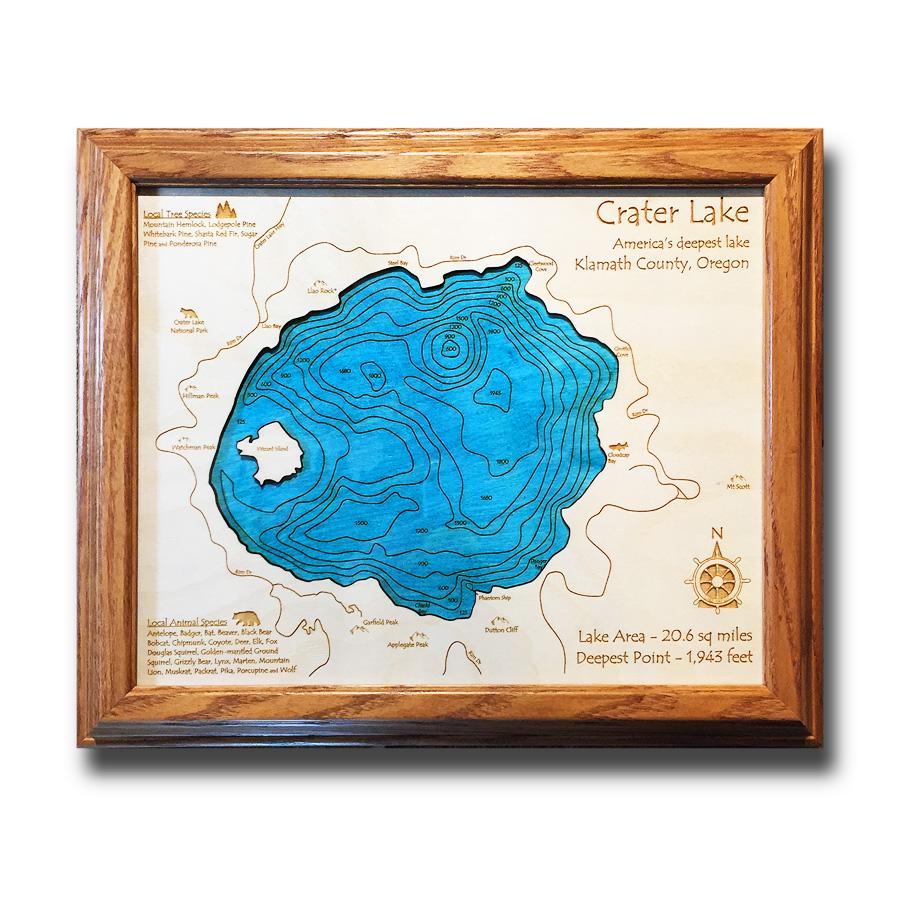Crater Lake laser wood map poster