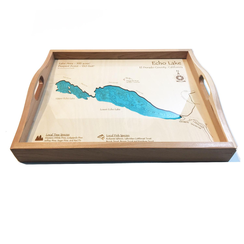 Echo Lake Wood Map Serving Tray