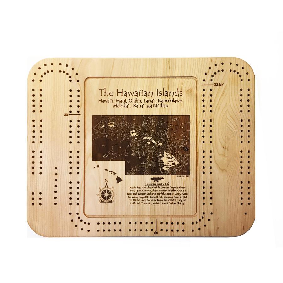 hawaiian islands wood cribbage board