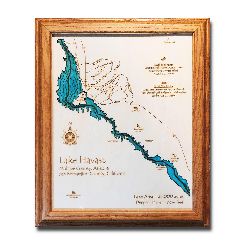 Lake Havasu laser-etched wood map, laser-printed poster wall art