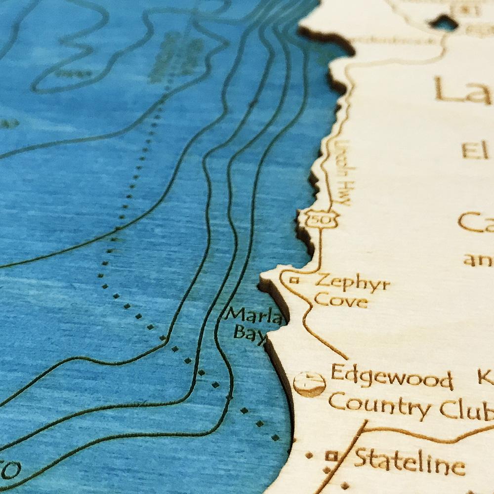 US Virgin Islands SingleDepth Nautical Wood Chart X - Lake tahoe on us map