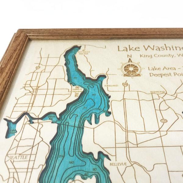 Lake Washington, WA Nautical Decor | Framed Wooden Map, 8\
