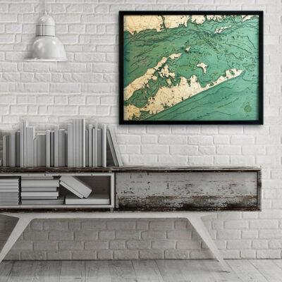 Long Island Sound wood map the Hamptons Long Island Poster