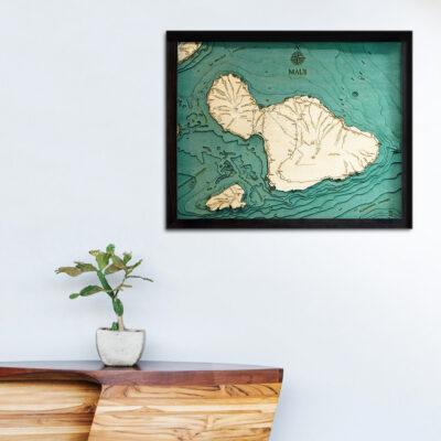 Maui 3d wood map poster