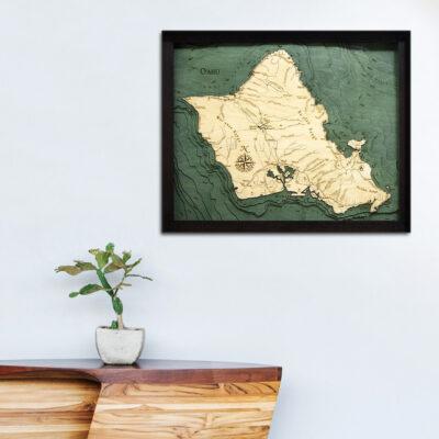 Oahu 3d wood map, Oahu poster