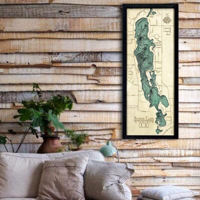 Silver Lake MI 3d wood map, Silver Lake poster