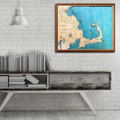 boston cape cod wooden maps 3d