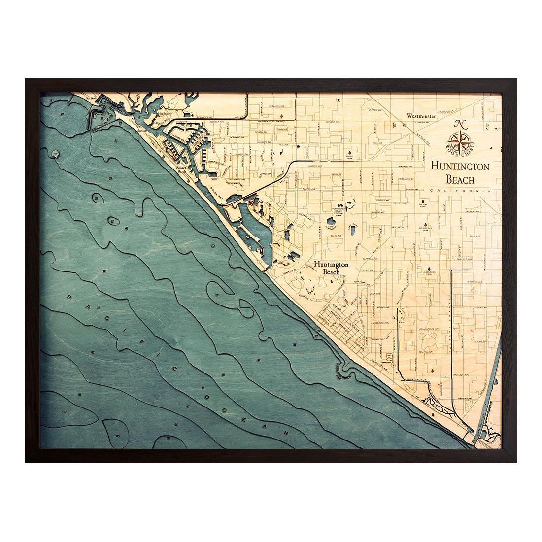 Huntington Beach Wood Map 3D Topographic Wood Chart 245 x 31