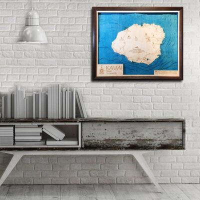 Kauai 3d wood map nautical decor