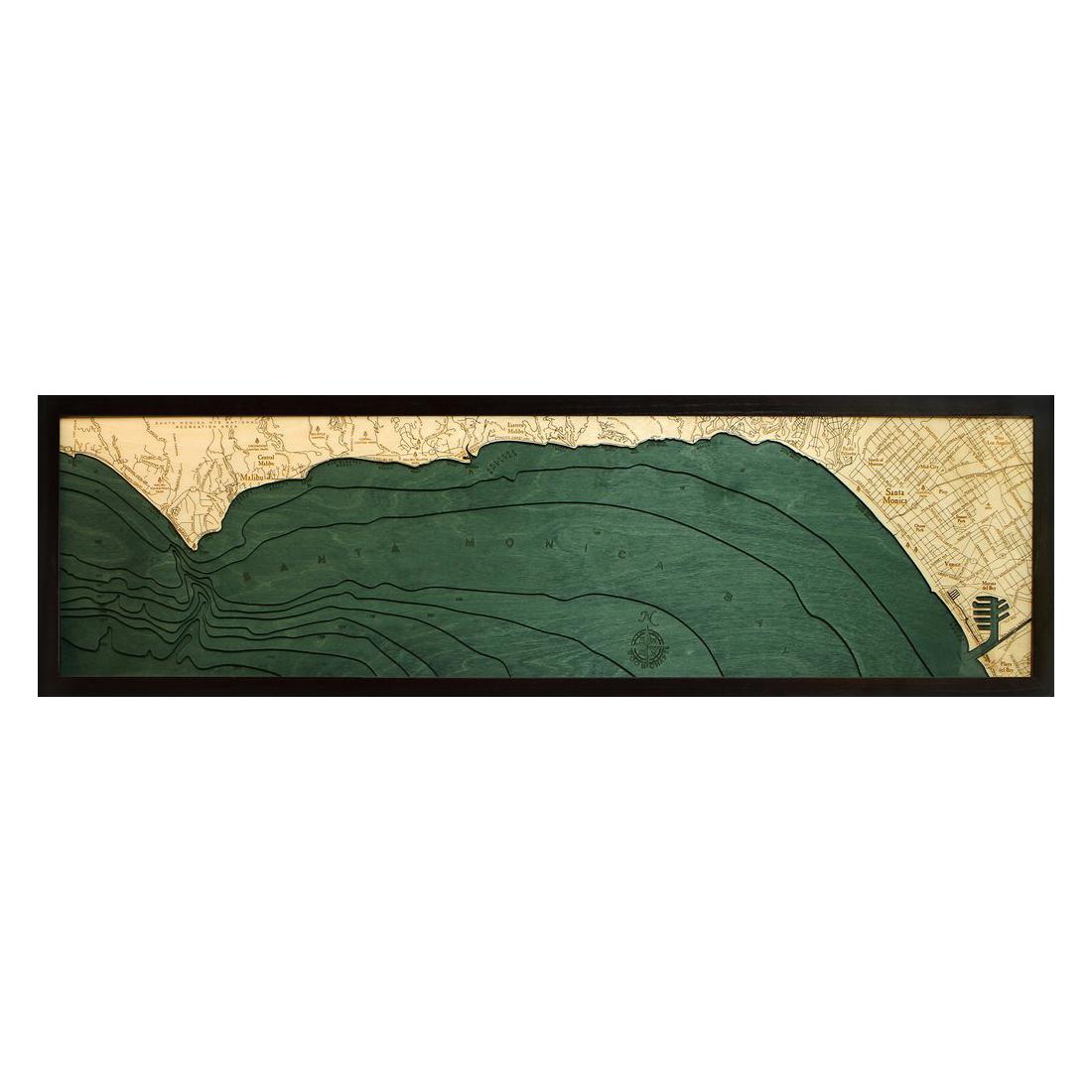 Malibu Santa Monica Wood Map 3D Wood Chart 135 x 43