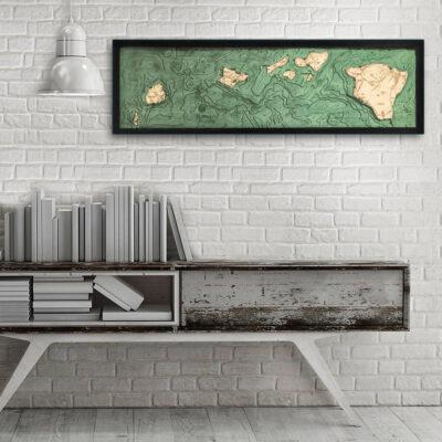 Hawaiian Islands wood map, 3d wood poster