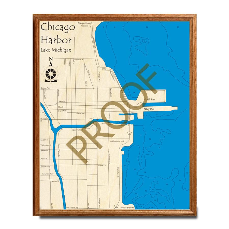 Chicago Wooden Map, 3d Chart