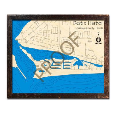 Destin Harbor 3d wood map printed poster
