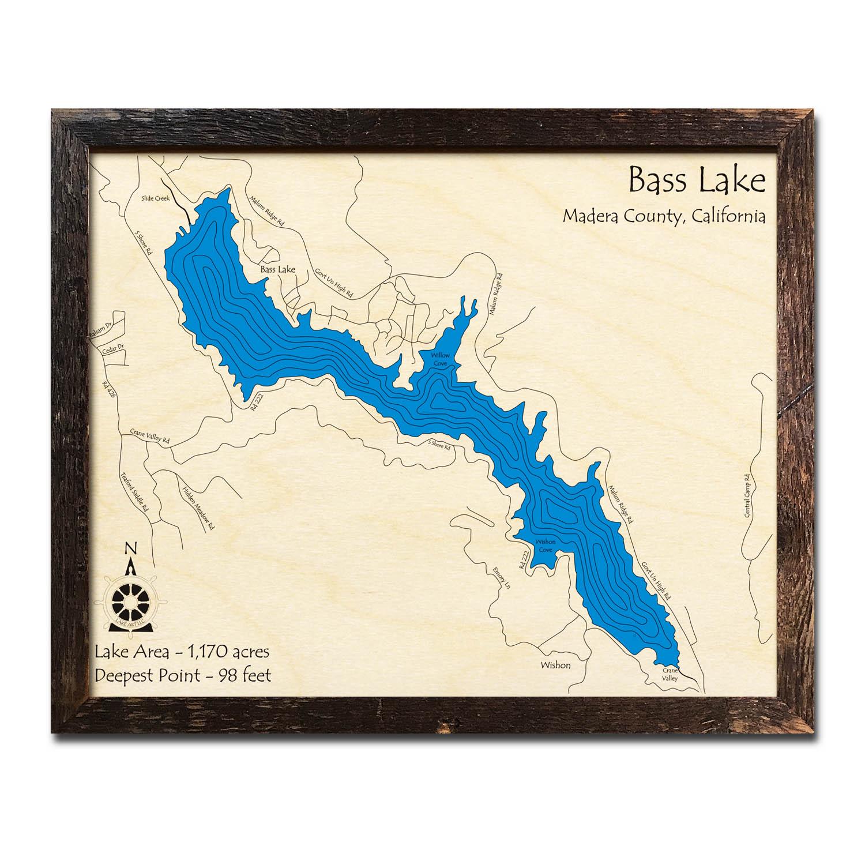 Bass Lake Ca Nautical Wood Maps