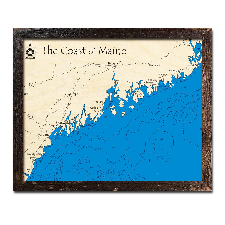 Coast Of Maine Me Nautical Wood Maps