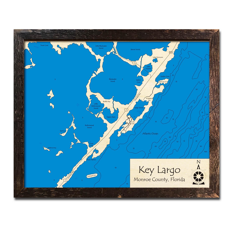 Key Largo Florida Map.Key Largo Fl Nautical Wood Maps