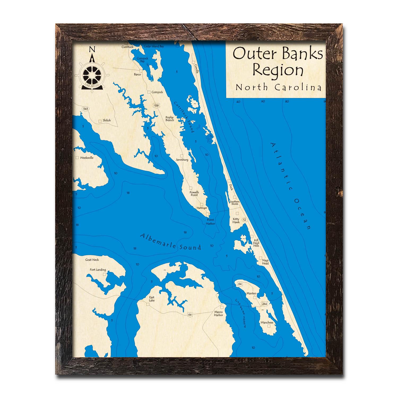 Outer Banks Framed Wood Map in 3D