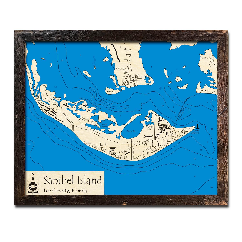 Sanibel Island Fl Nautical Wood Maps
