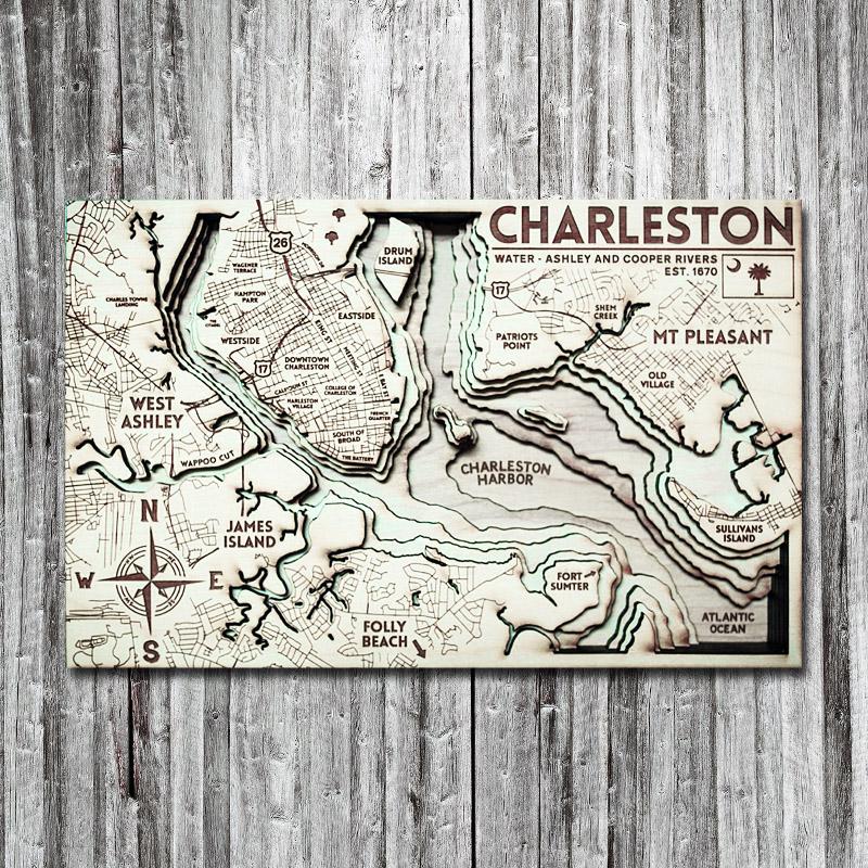 Charleston Sc Wood Map 3d Topographic Wood Chart