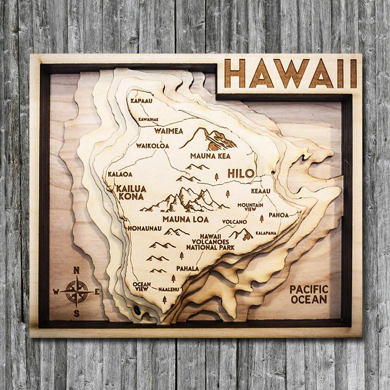 Hawaii Wood Map 3d Topographic Wood Chart Of The Island Of Hawaii