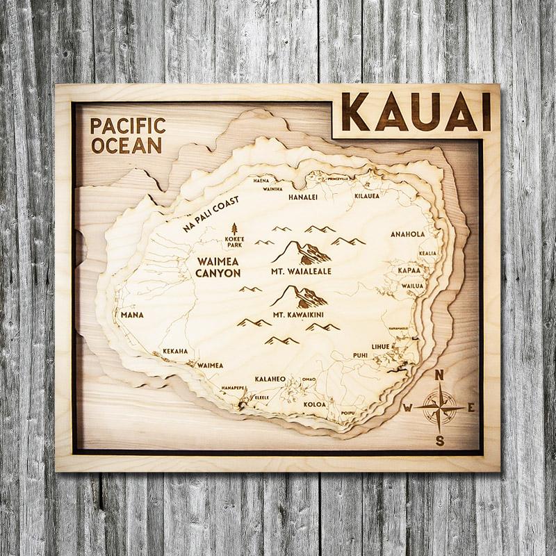 Kauai Hi Wood Map 3d Topographic Wood Chart