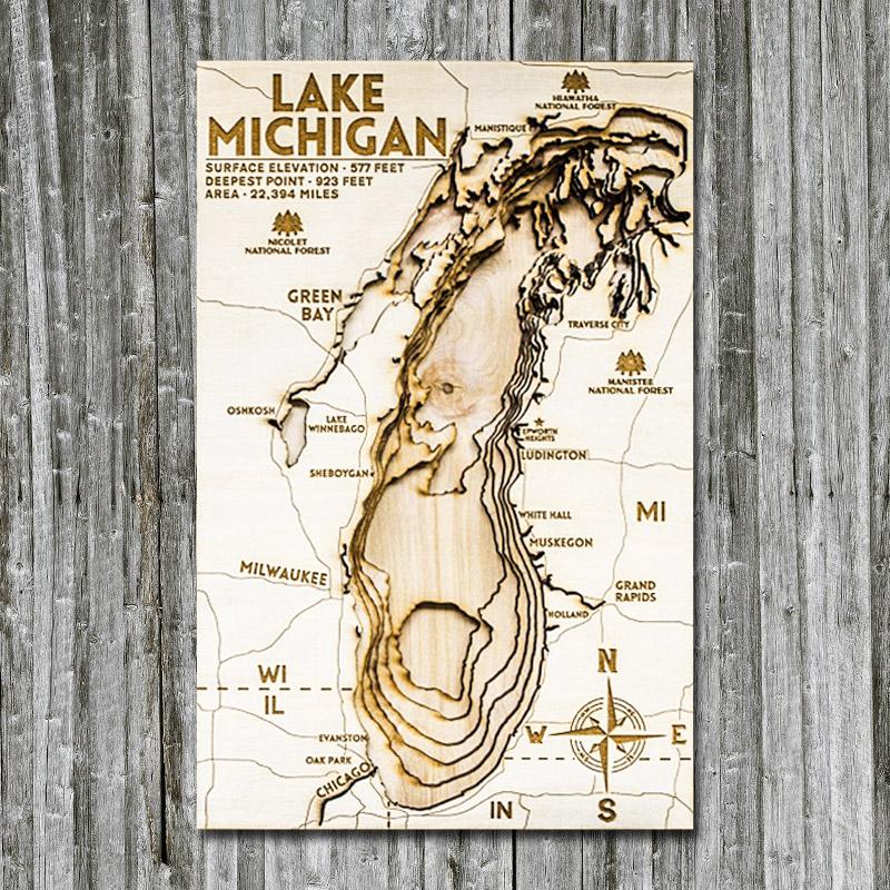 Lake Michigan Wood Map laser etched