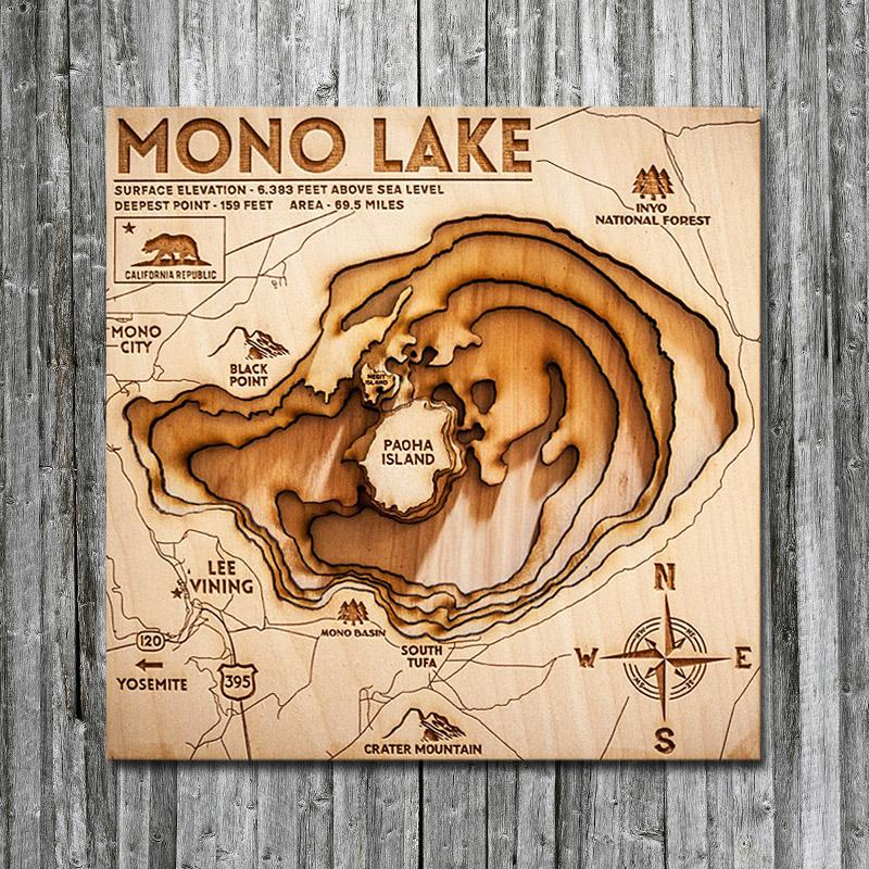 Mono Lake, CA Wood Map | 3D Topographic Wood Chart on