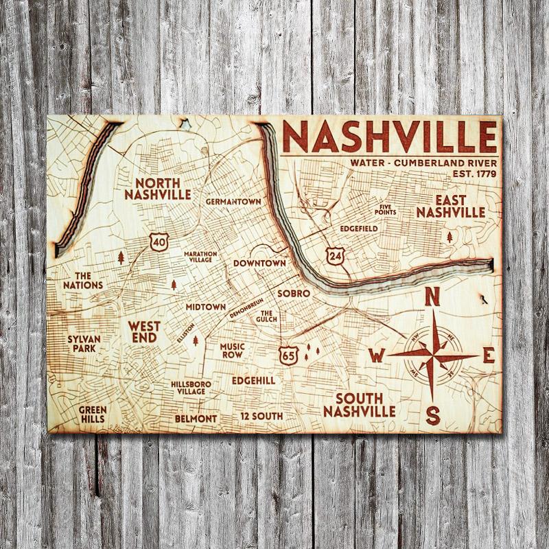 Nashville, TN Wood Map   3D Wooden Chart