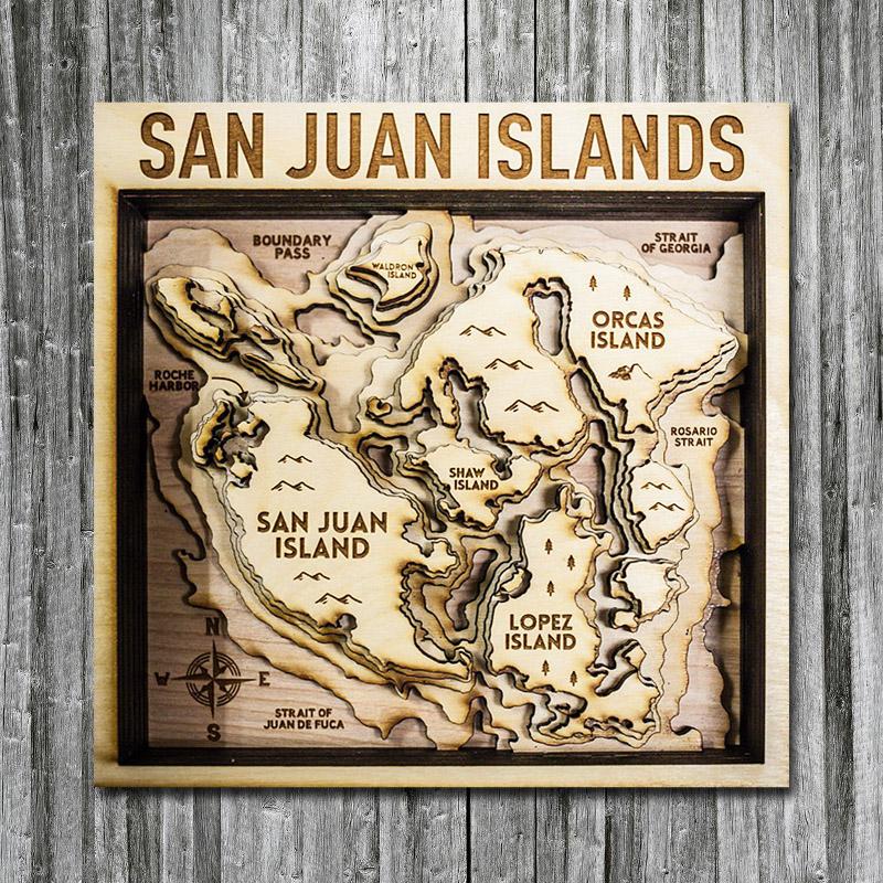 San Juan Islands Wood Map, 3D Wall Art