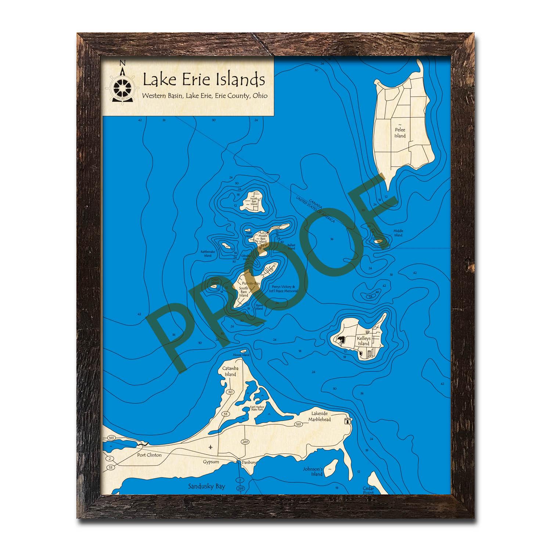 Lake Erie Islands Wood Map