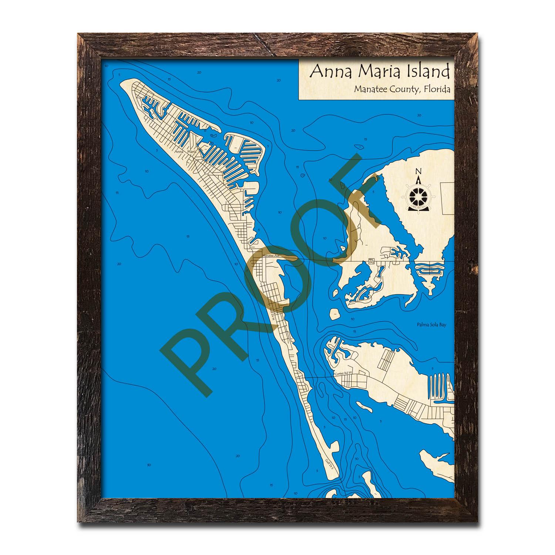Anna Maria Island Fl Nautical Wood Maps