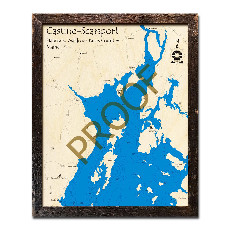 Castine And Searsport Region Me Nautical Wood Maps