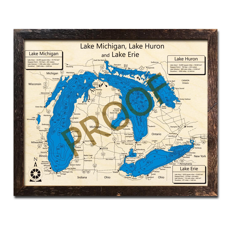 Lake Michigan, Lake Erie, and Lake Huron Nautical Wood Maps