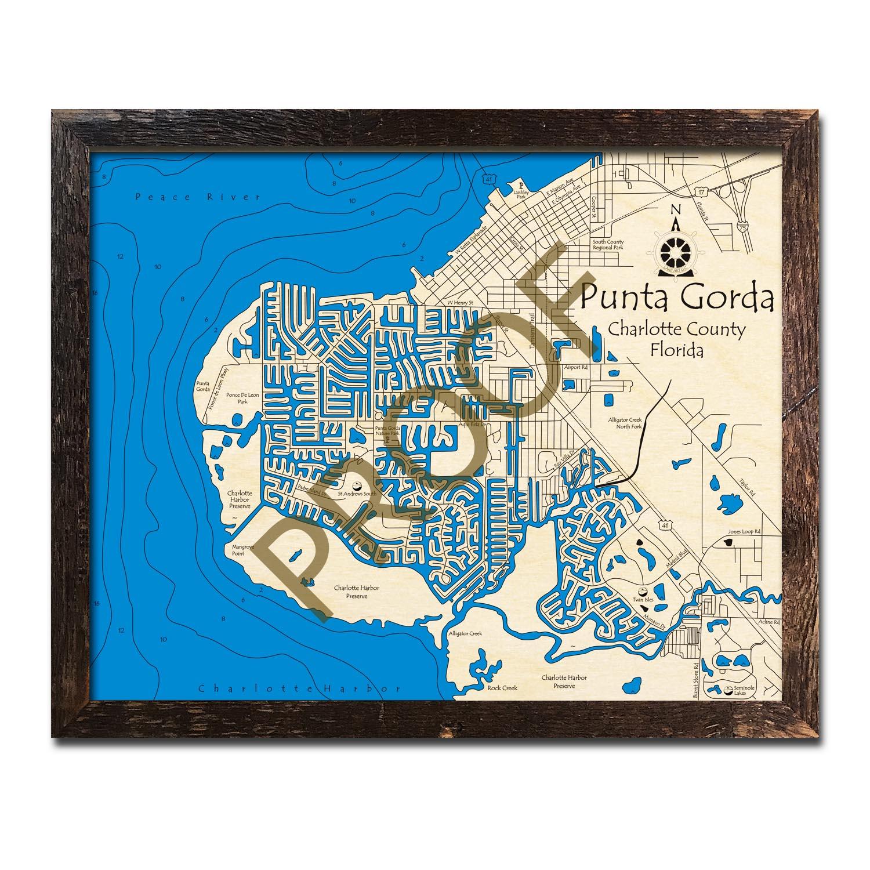 Map Of Punta Gorda Florida.Punta Gorda Fl Nautical Wood Maps
