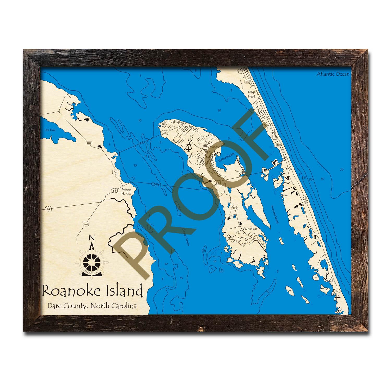 Roanoke Island Outer Banks Region Nc Nautical Wood Maps