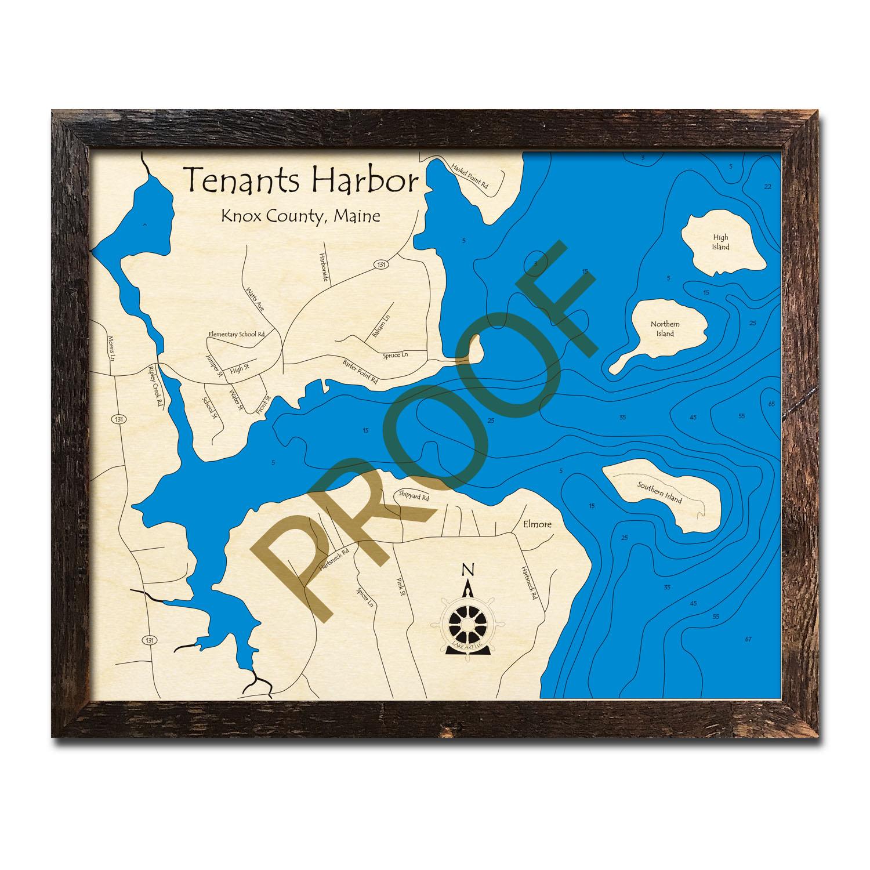 Tenants Harbor Maine Map.Tenants Harbor Me Nautical Wood Maps