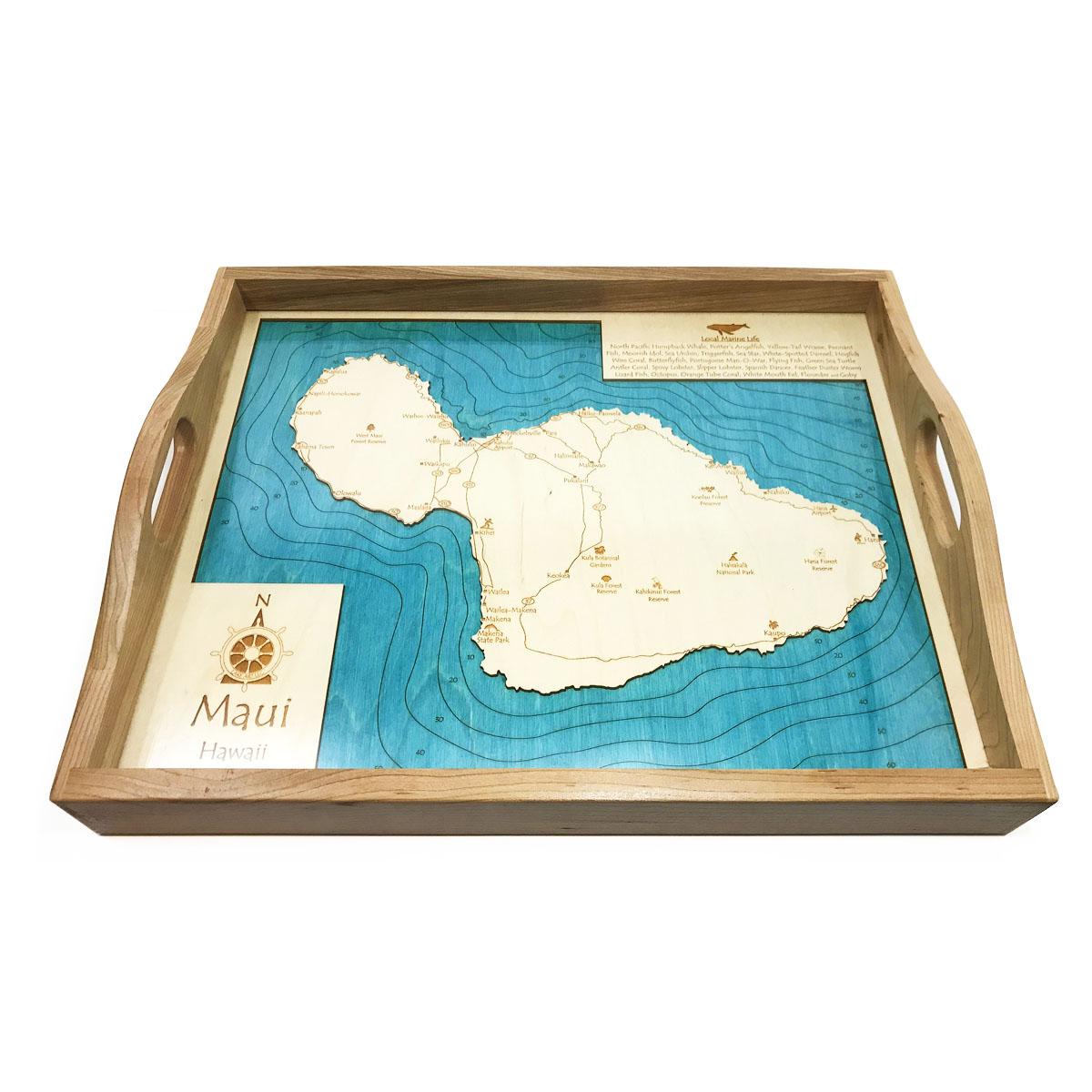 Maui Wood Map Serving Tray