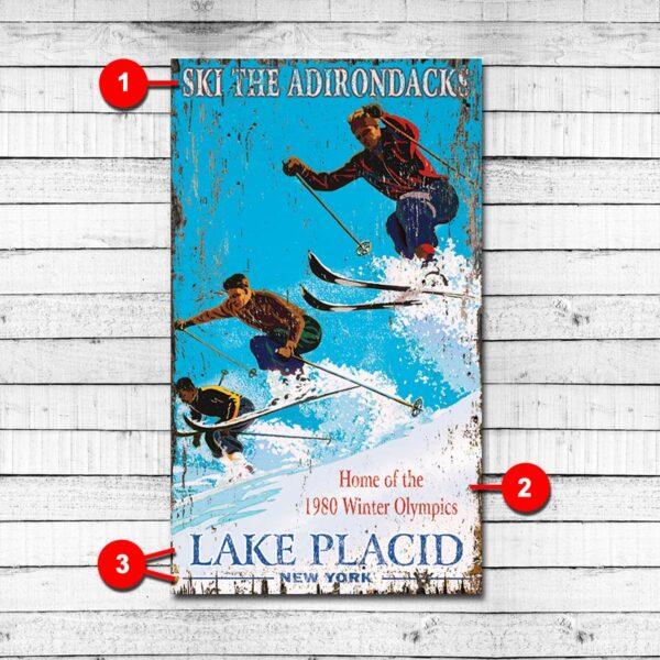 Lake Placid Vintage Sign, Personalized Ski Sign
