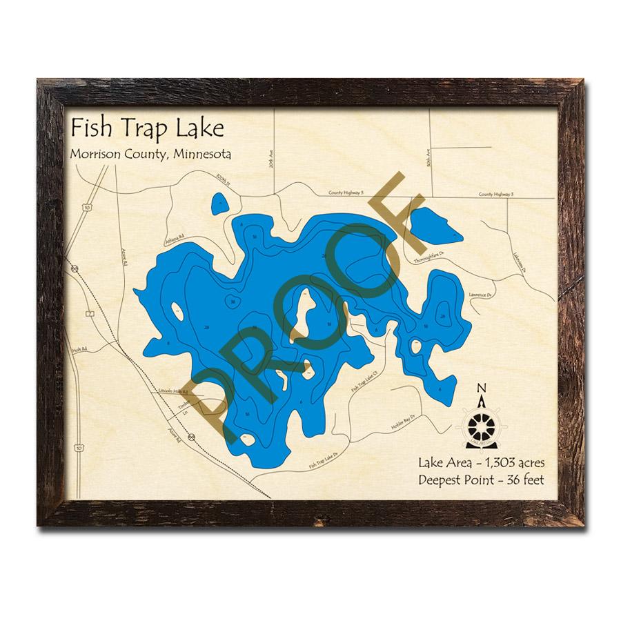 Fish trap lake mn 3d wood topo maps for Fish trap lake mn