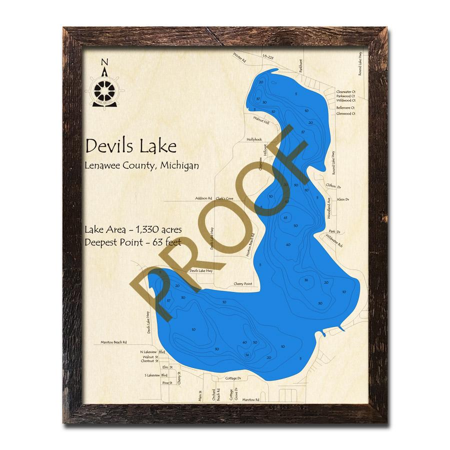 Devils Lake Mi 3d Wood Topo Map