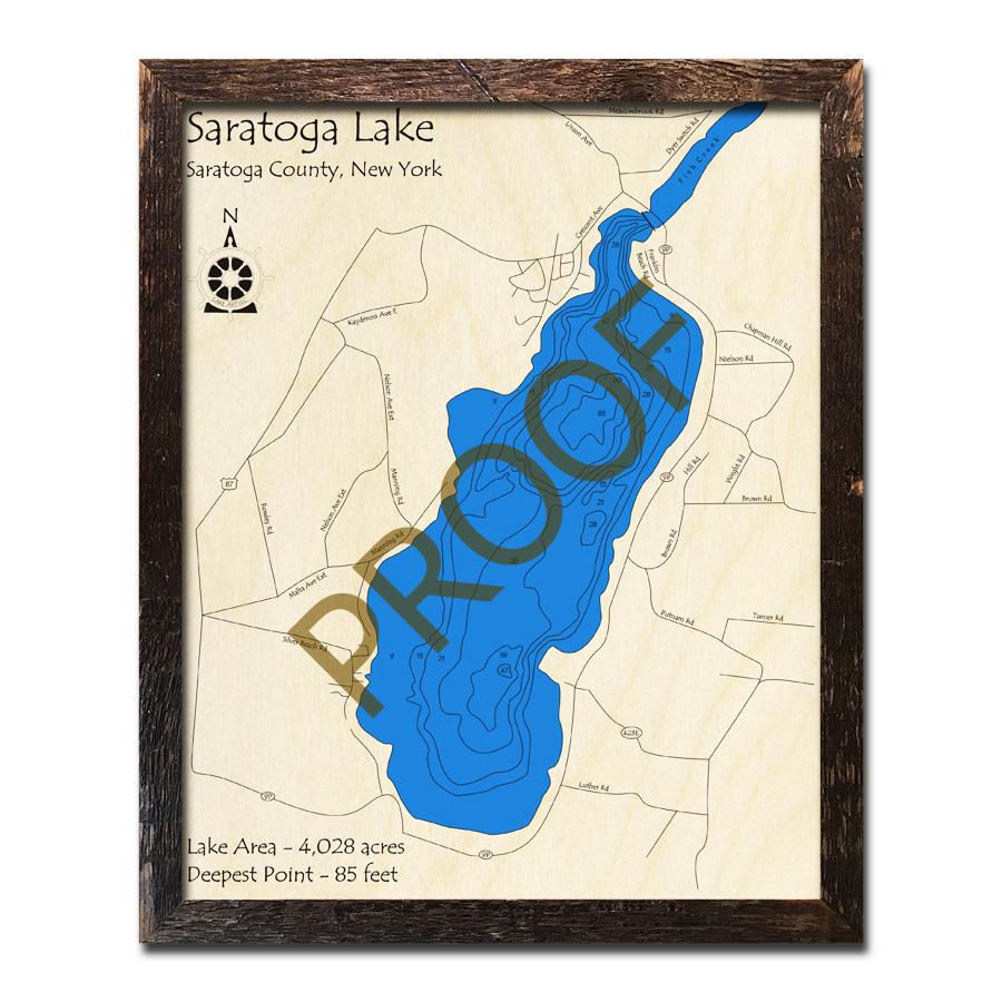 Saratoga Lake Ny 3d Wood Topo Map