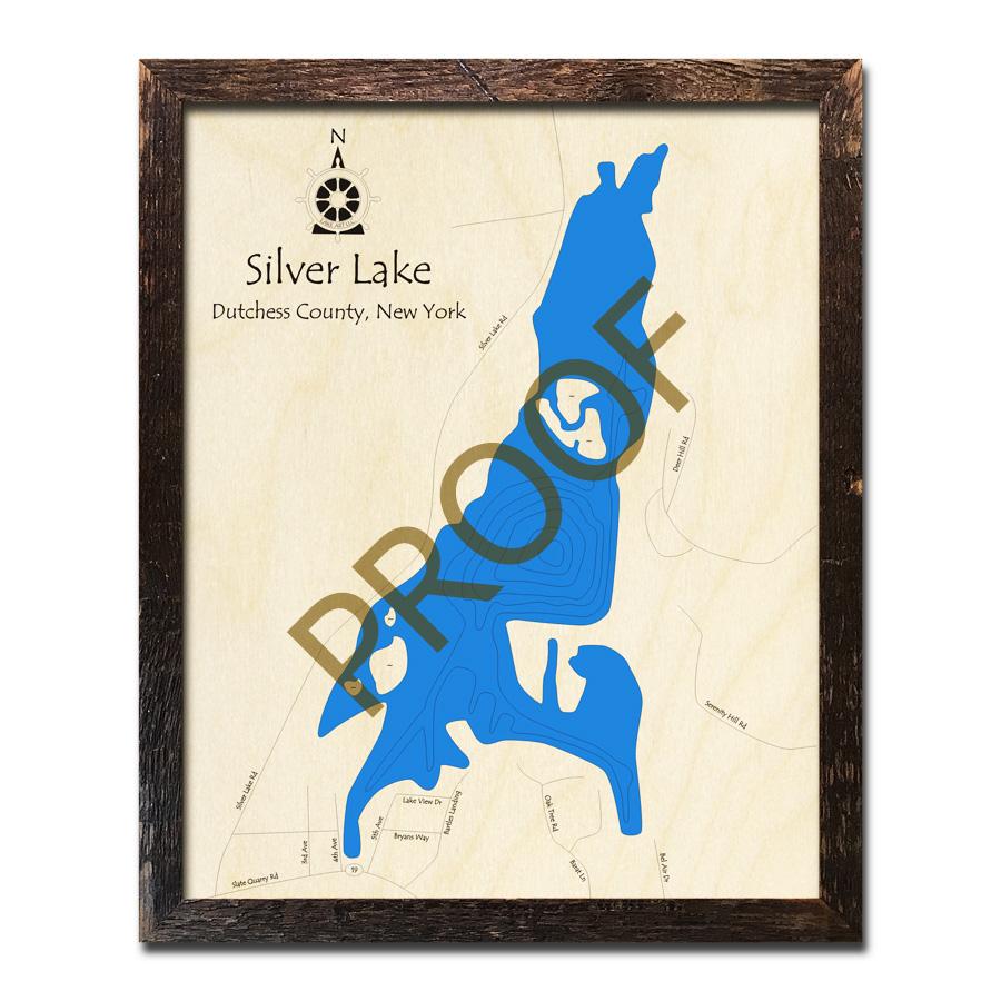 Silver Lake (Dutchess County), NY 3D Wood Topo Map