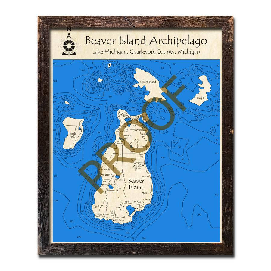 Beaver Island, Lake Michigan 3D Wood Topo Map