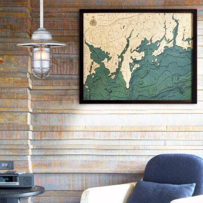 Darien CT Long Island Sound Wood Map