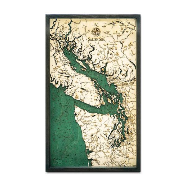 Salish Sea 3D Wood Map | Framed Nautical Wood Chart, 24.5\
